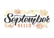 Gaat de getrokken van letters voorziende kaart van Hello September hand met krabbel weg en schiet als paddestoelen uit de grond I stock illustratie
