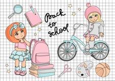 GAAT de Vector de Illustratiereeks van schoolclipart NAAR SCHOOL stock illustratie