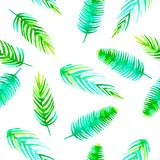 Gaat het naadloze tropische patroon van de waterverfzomer met romantische het elementenkokospalm van het wildernisblad, monstera, royalty-vrije illustratie