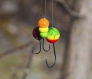 Gabarit trois multicolore pour le plan rapproché de pêche Image libre de droits