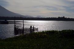 Gabbia del pesce del lago in pieno della questione ambientale delle ninfee che confronta piscicoltura Fotografia Stock Libera da Diritti