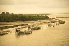 Gabbia del pesce nel mare Fotografia Stock