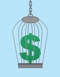 Gabbia del simbolo di dollaro Immagini Stock Libere da Diritti