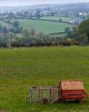 Gabbia di pollo rossa nel terreno coltivabile rurale dell'Irlanda del Nord Immagine Stock