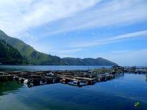 Gabbia tradizionale dei pesci in lago Toba Fotografia Stock Libera da Diritti