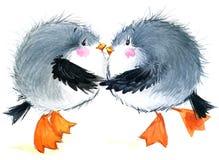 Gabbiano dell'uccello di mare Fondo divertente marino Illustrazione dell'acquerello Immagine Stock