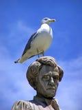 Gabbiano su una testa della statua Fotografie Stock