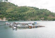 Gabbie di galleggiamento del pesce che coltivano in Lut Tawar Lake, Takengon, Ace Immagini Stock Libere da Diritti