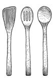 Gabel, Löffel, Holz, Bambus, Satz, Sammlung, Stich, graviert, Illustration, Zeichnung Stockfotografie