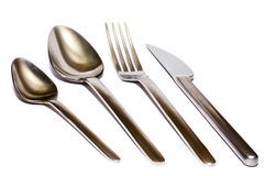 Gabel, Löffel, Messer Stockfoto