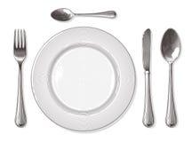 Gabel, Löffel, Messer, Platte in der Weinlesestichart Lizenzfreie Stockbilder