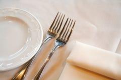 Gabel, Messer, Serviette Stockbild