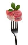 Gabel mit Fleisch Stockbild