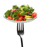 Gabel mit frischem Salat Lizenzfreie Stockbilder