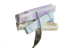 Gabel mit Geld Lizenzfreie Stockfotografie