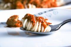 Gabel mit spagetti. Lizenzfreie Stockfotografie