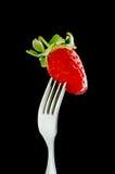 Gabel u. Erdbeere Lizenzfreies Stockfoto