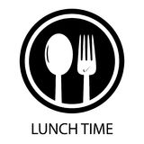 Gabel-und Löffel-Mittagessen-zeit- Kreisrestaurant-Symbol vektor abbildung
