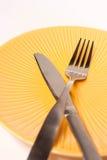 Gabel und Messer, gekreuzt Lizenzfreie Stockfotografie