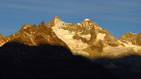 Gabelhorn at sunrise. Morning scene in Zermatt royalty free stock image