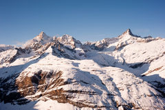 Gabelhorn and Zinalrothorn above Zermatt. Gabelhorn and Zinalrothorn mountain peaks above Zermatt, Switzerland stock photo