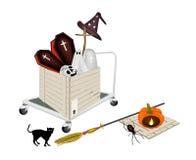 Gabelhubwagen, der Halloween-Einzelteile im Versand-Kasten lädt Stockfoto