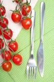 Gabelmesser und -tomaten lizenzfreies stockbild