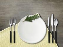 Gabeln, Löffel, Messer, Platten Modell Rustikale noch Lebensdauer lizenzfreie stockbilder