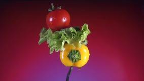 Gabeln Sie mit gelben Pfefferscheiben der Gurke, Rettich und Kopfsalat dreht roten Hintergrund stock footage