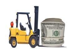 Gabelstapler, der mit Geld arbeitet Lizenzfreie Stockbilder