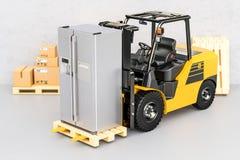 Gabelstapler mit modernem Kühlschrank Gerätelieferung, rende 3D Lizenzfreie Stockfotos