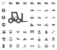 Gabelstaplerikone Gesetzte Ikonen des Transportes und der Logistik Gesetzte Ikonen des Transportes Lizenzfreies Stockfoto