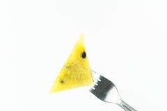 Gabelstoß auf gelbem Wassermelonenisolat Stockbilder