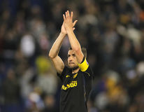 Gabi Fernandez of Atletico de Madrid. Clapping hands  during a Spanish League match against RCD Espanyol at the RCDE Stadium on May 6 2017 in Barcelona Spain Royalty Free Stock Images