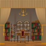 Gabinet lub żywy izbowy wnętrze z antykwarskim meble royalty ilustracja