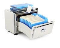 Gabinete de almacenamiento de fichero con las carpetas Imágenes de archivo libres de regalías