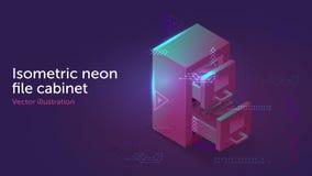 Gabinete de archivo de almacenamiento ligero de neón isométrico ilustración del vector