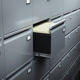 Gabinete de arquivo com originais Imagens de Stock