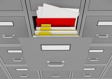 Gabinete de fichero con un cajón abierto. Fotografía de archivo libre de regalías