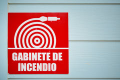 Gabinete de incendio sign Royalty Free Stock Photo