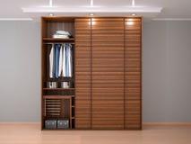 Gabinete de madera con las puertas deslizantes 3d Foto de archivo libre de regalías