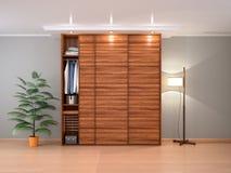 Gabinete de madera con las puertas deslizantes en el interior 3d Imágenes de archivo libres de regalías