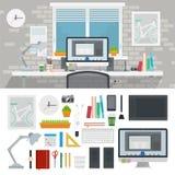 Gabinete del diseñador por completo de diversas herramientas ilustración del vector