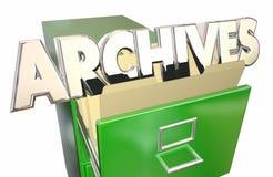 Gabinete viejo de las carpetas de archivo de datos de los expedientes de los archivos ilustración del vector