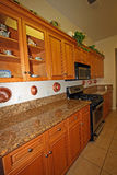 Gabinetes de cozinha de madeira modernos Imagens de Stock Royalty Free