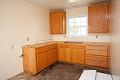 Gabinetes de cozinha sem bancada Fotografia de Stock