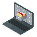 Gabinetes de fichero dentro de la pantalla del ordenador portátil Ordenador portátil y gabinete de fichero Ejemplo isométrico del ilustración del vector