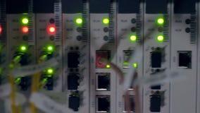 Gabinetto altrimenti unilluminated della rete dell'interno di lampeggio delle luci intense stock footage
