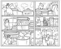 Gabinetto in bianco e nero con i piatti ed i conigli magici fotografia stock libera da diritti
