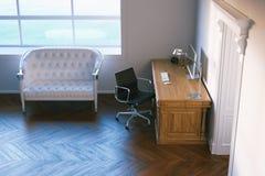 Gabinetto del lavoro a domicilio nell'interior design classico 3d rendono Immagini Stock